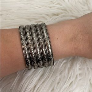 Macy's 5 piece silver bangle set